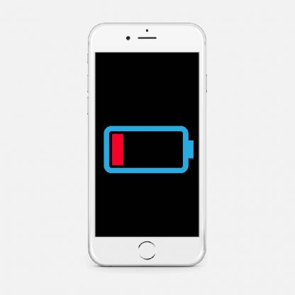 En vit telefon med et bilde på ett tomt batteri