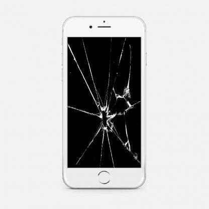 En vit telefon med knust skjerm