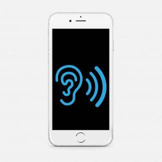 En vit telefon med et bilde på ett øre og lydbølger som øker i størrelse