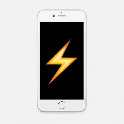En vit telefon med et bilde på en blixt
