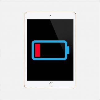 En vit Ipad med en ikon av ett tomt batteri